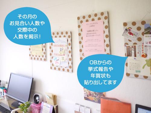 オフィスの壁には会員数や交際中の人数、そしてOBからの年賀状など、たくさんの掲示物が!